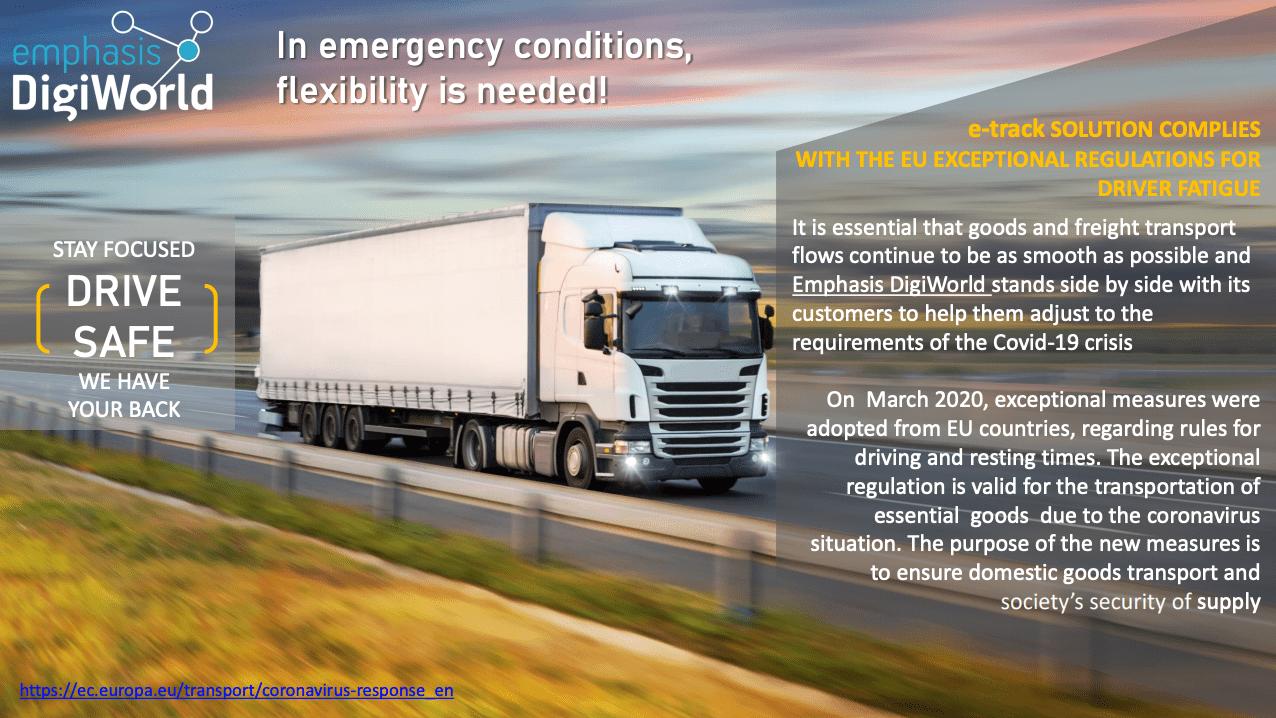 e-track solution complies with the EU exceptional regulations for driver fatigue